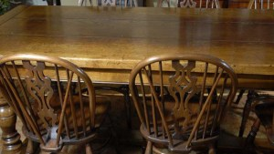 English Oak Refectory Table 8 Windsor Chair Dining Set