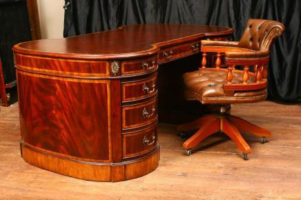摄政哑铃红木古董书桌
