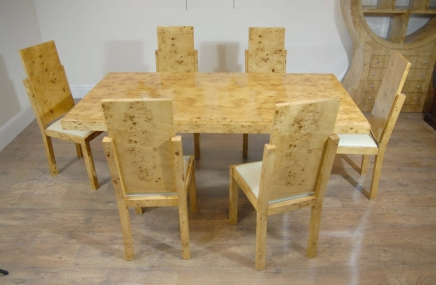 Art Deco Walnut Dining Table & Chairs