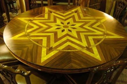Art Deco Inlay Round Dining Table