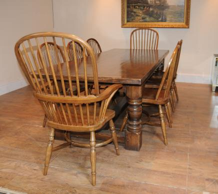 Oak refektoriet Tabell Windsor Chair Set Farmhouse