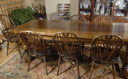 Oak refektoriet Table & 8 Windsor Chair Dining Set