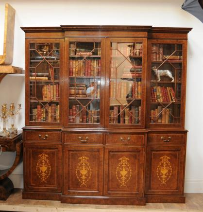 Regency Breakfront Bücherregal Burr Walnut Sheraton buchen