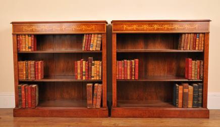 Sheraton Walnut Low Open Front Bücherregale