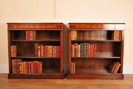 Пара Открытые Sheraton Regency Красное дерево Книжные шкафы