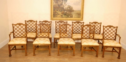 Mahogany Gothic Chippendale Dining Chairs