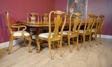 George III Walnut Dining Table & 10 Queen Anne Stoler