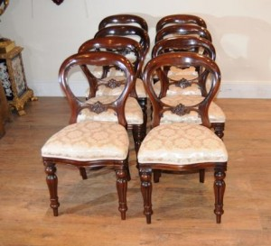 Mahagoni viktorianischen Dining Chairs Balloon Zurück