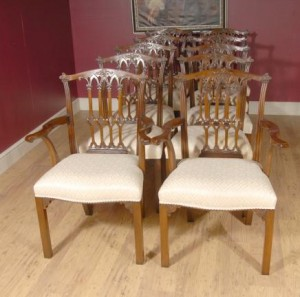 Inglés sillas de caoba Comedor Victoria