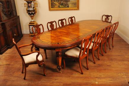 Walnut italiano jantar Marchetaria Tabela Queen Anne