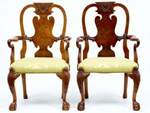Antique Queen Anne Walnut Dining Chairs