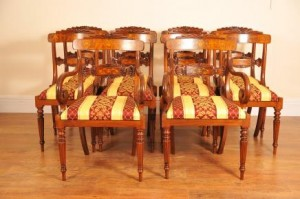 Walnut Inlay Regency Eetkamerstoelen