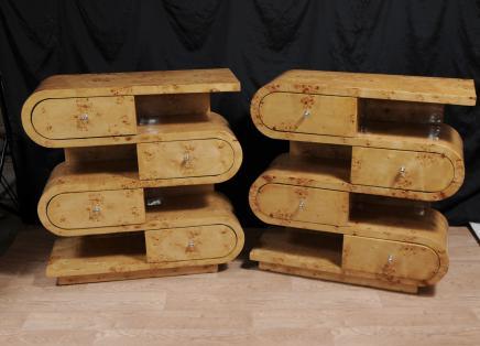 Pair Art Deco Blonde Walnut Bookcases Shelf Units Display Chests