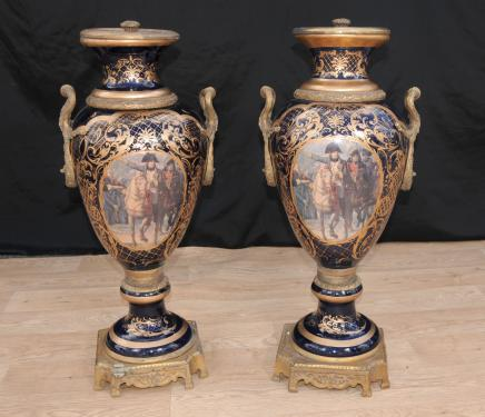 Pair Big Paris Sevres Porcelain Napolean Vases Urns