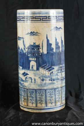 Chinese Blue White Kangxi Porcelain Umbrella Stand Hand Painted