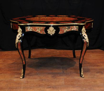 French Boulle Desk Bureau Plat Scalloped Inlay Writing Table