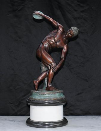 Italian Bronze Discus Thrower Statue Roman Athlete Classical