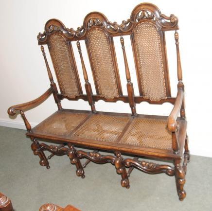 Oak Charles II Settle Chair Three Seat Arm Chair Sofa