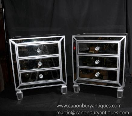 Pair Deco Mirrored Bedside Chests Nightstands Mirrors Furniture