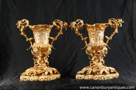 Pair Louis XV Ormolu Vases Urns Rococo Trophy