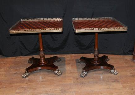 Pair Regency Parquetry Inlay Side Tables Occasional Cocktail Table