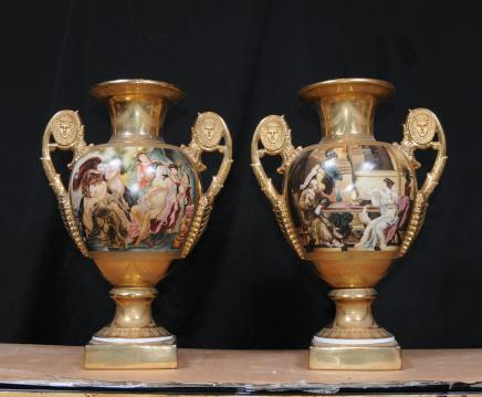 Pair Sevres Amphora Vases French Porcelain Urns