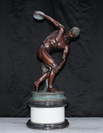 Italian Bronze Discus Thrower Statue Roman Athlete Classical
