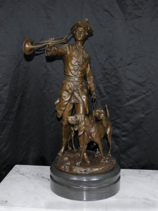 Large French Bronze Hunter Statue Bloodhound Dog Statue