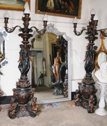 Pair XL Bronze Maiden Lamps Lights Candelabras Architectural Torcheres