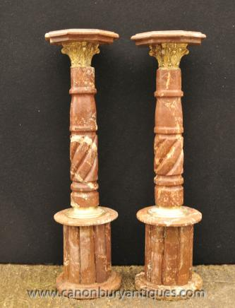 Pair Italian Marble Tall Column Pedestal Stand Tables
