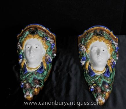 Pair Majolica Pottery Cherub Wall Stands Porcelain Shelf