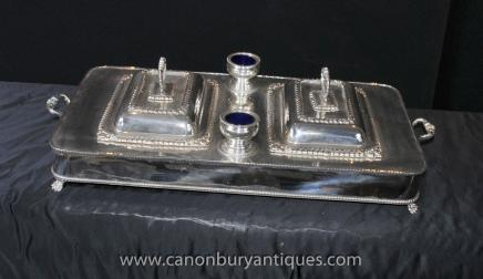 Victorian Sheffield Silver Plate Food Warmer Plate Charger Cruet