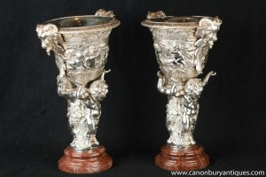 Pair Empire Silver Plate Bronze Cherub Dishes Tureens Statue
