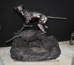 Big French Bronze Dog Fowl Hunting Hunt Scene PJ Mene