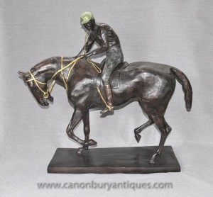 Big French Bronze Horse and Jockey Statue by Mene