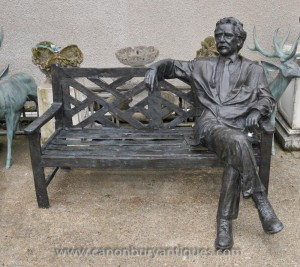 Large Bronze Garden Bench with Lifesize Albert Einstein Statue