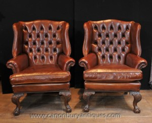 Pair Antique English Wingback Chesterfield Arm Chairs Leather Chair