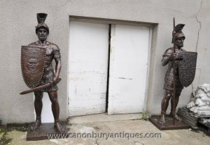 Pair XL Bronze Roman Gladiator Statues Soldier Architectural Antiques