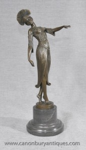 Elegant Art Deco Bronze Flapper By DH Chiparus Statue