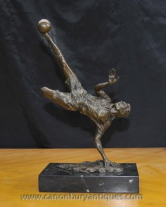 English Bronze Football Player Statue Scissor Kick Soccer Stanley Matthews