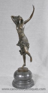 French Art Deco Bronze Dancer Figurine By DH Chiparus