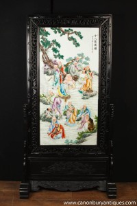 Hand Painted Japanese Kakiemon Porcelain Carved Screen Room Divider