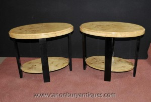 Pair Art Deco Side Tables Cocktail Table Vintage