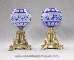 Pair French Empire Ormolu Maiden Vases Urns Cut Glass Bowl Comport