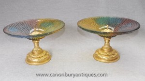 Pair Italian Murano Glass Comports Ormolu Base