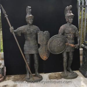 Pair Lifesize Cast Iron Roman Gladiator Statues Centurion