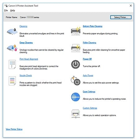 IJ Printer Assistant Tool Windows OS