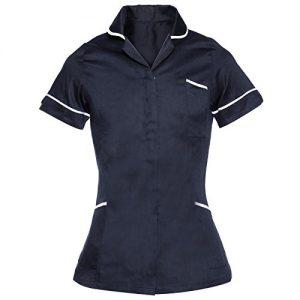 CLE-DE-TOUS-Camisa-Uniforme-Casaca-Peluquera-Manga-Corta-para-Esttica-SPA-para-Mujer-color-Azul-Talla12-14-16-0-300x300