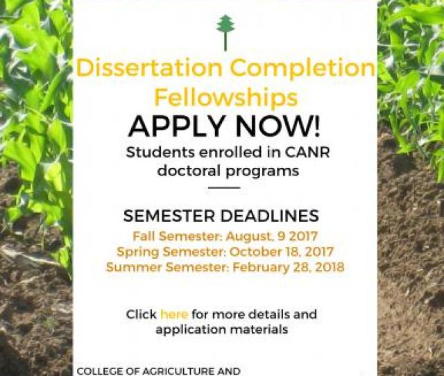 Canr Dissertation Completion Fellowships For 2017 18 School Year