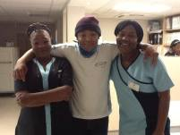 Moshe, cancer survivor, with nurses from oncology ward at Donald Gordon